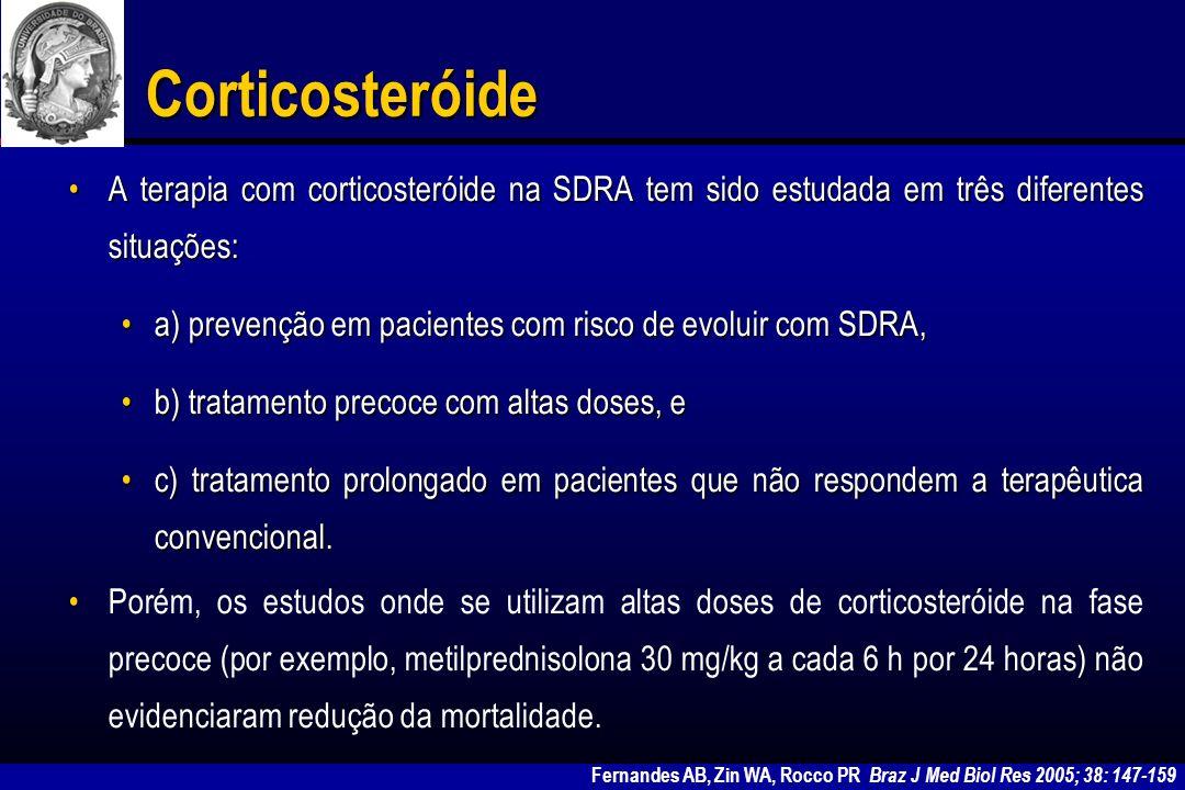 Corticosteróide na fase precoce da SDRA AutorNúmeroDiagnóstico Grupo controle RandomizadoProspectivo Duplo- cego Dose de MMP Evolução Weigelt et al (1985) 81SDRASim 30 mg/kg 6 h 48 h Nenhum benefício mortalida de, aumento infecção Bernard et al (1987) 99SDRASim 30 mg/kg 6 h 24 h Nenhum benefício mortalida de Pelosi P, Rocco PR.