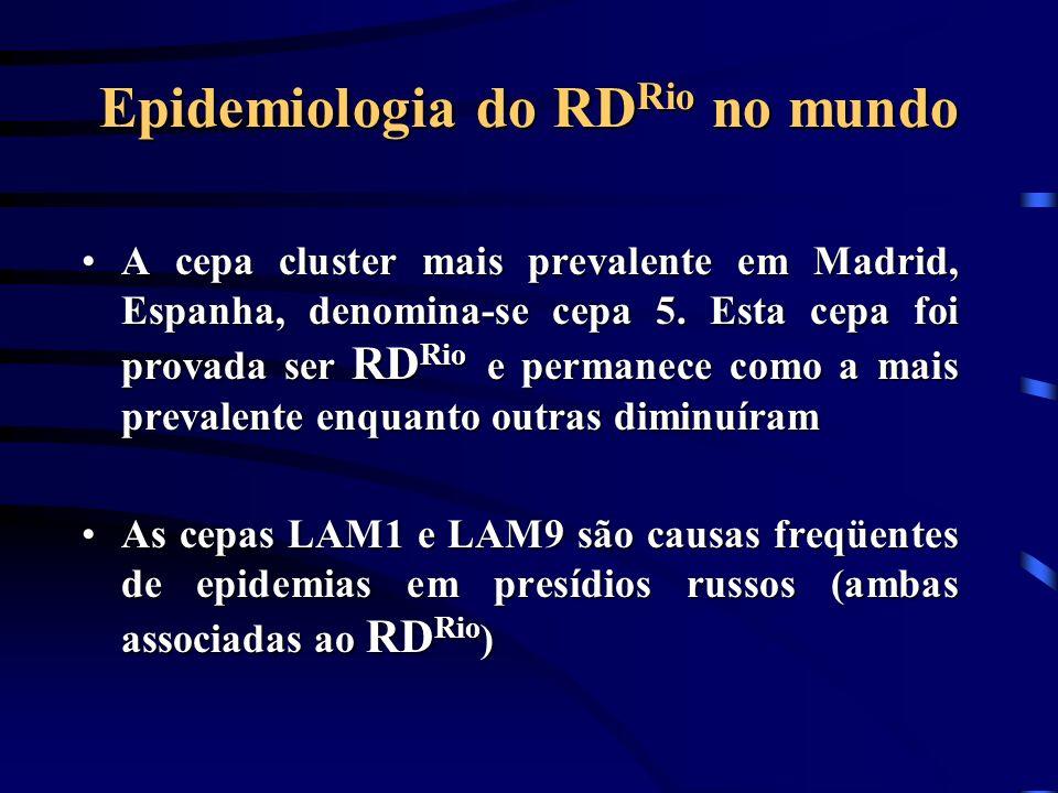 Epidemiologia do RD Rio no mundo A cepa cluster mais prevalente em Madrid, Espanha, denomina-se cepa 5. Esta cepa foi provada ser RD Rio e permanece c