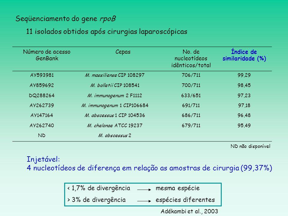 Número de acesso GenBank CepasNo. de nucleotídeos idênticos/total Índice de similaridade (%) AY593981M. massiliense CIP 108297706/71199,29 AY859692M.