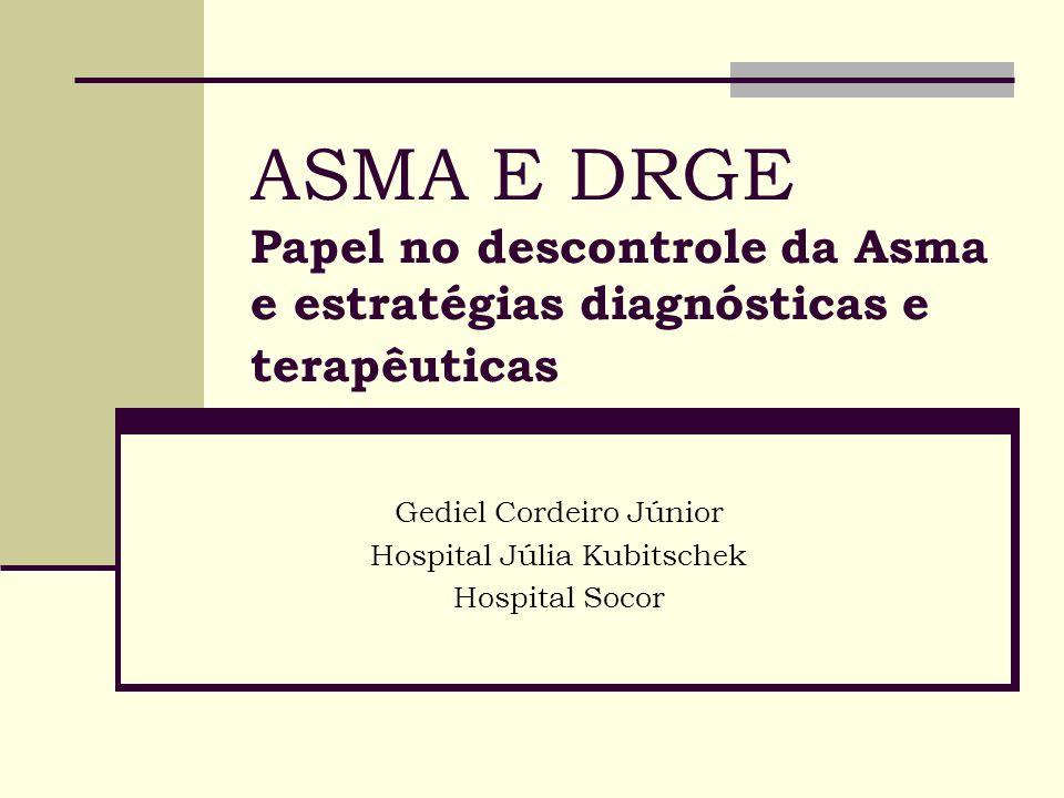 ASMA E DRGE Papel no descontrole da Asma e estratégias diagnósticas e terapêuticas Gediel Cordeiro Júnior Hospital Júlia Kubitschek Hospital Socor