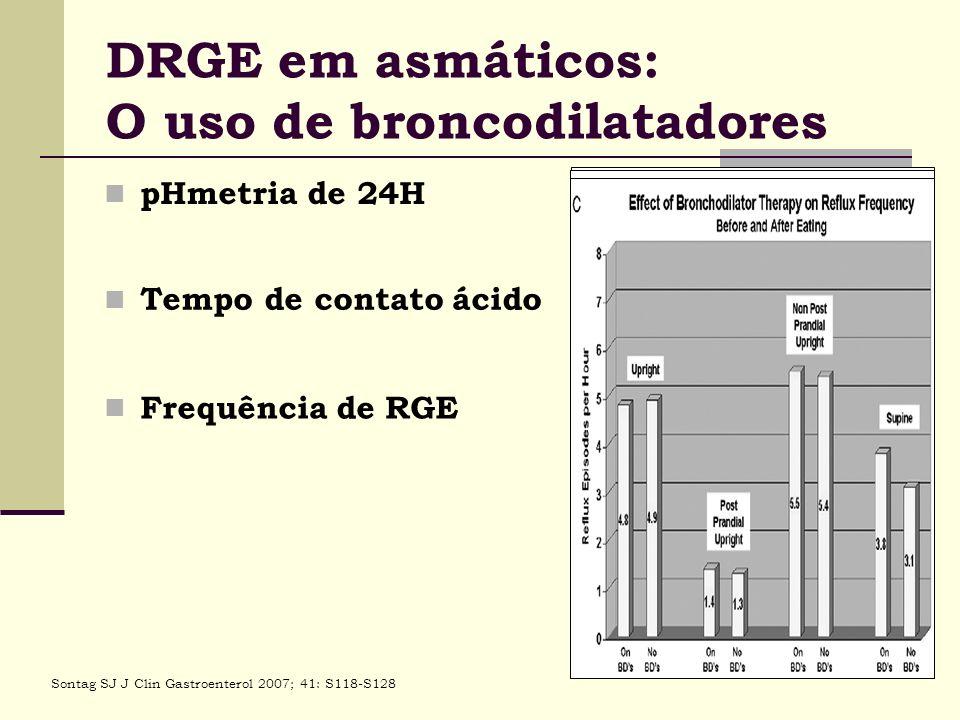 DRGE em asmáticos: O uso de broncodilatadores pHmetria de 24H Sontag SJ J Clin Gastroenterol 2007; 41: S118-S128 Tempo de contato ácido Frequência de