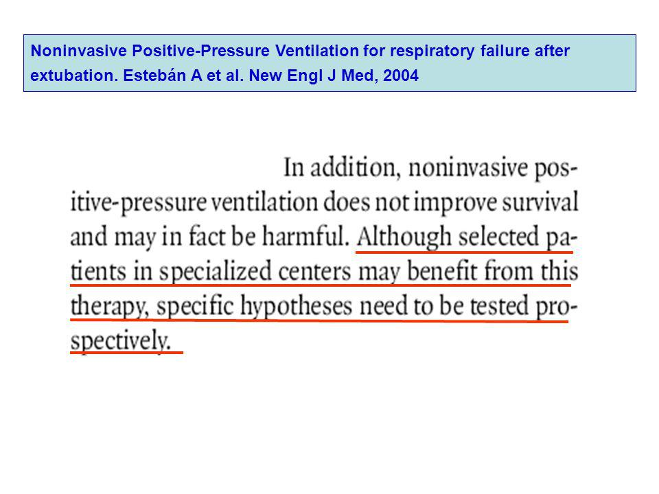 Noninvasive Positive-Pressure Ventilation for respiratory failure after extubation. Estebán A et al. New Engl J Med, 2004