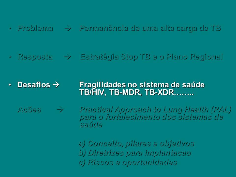 Problema Permanência de uma alta carga de TBProblema Permanência de uma alta carga de TB Resposta Estratégia Stop TB e o Plano RegionalResposta Estrat