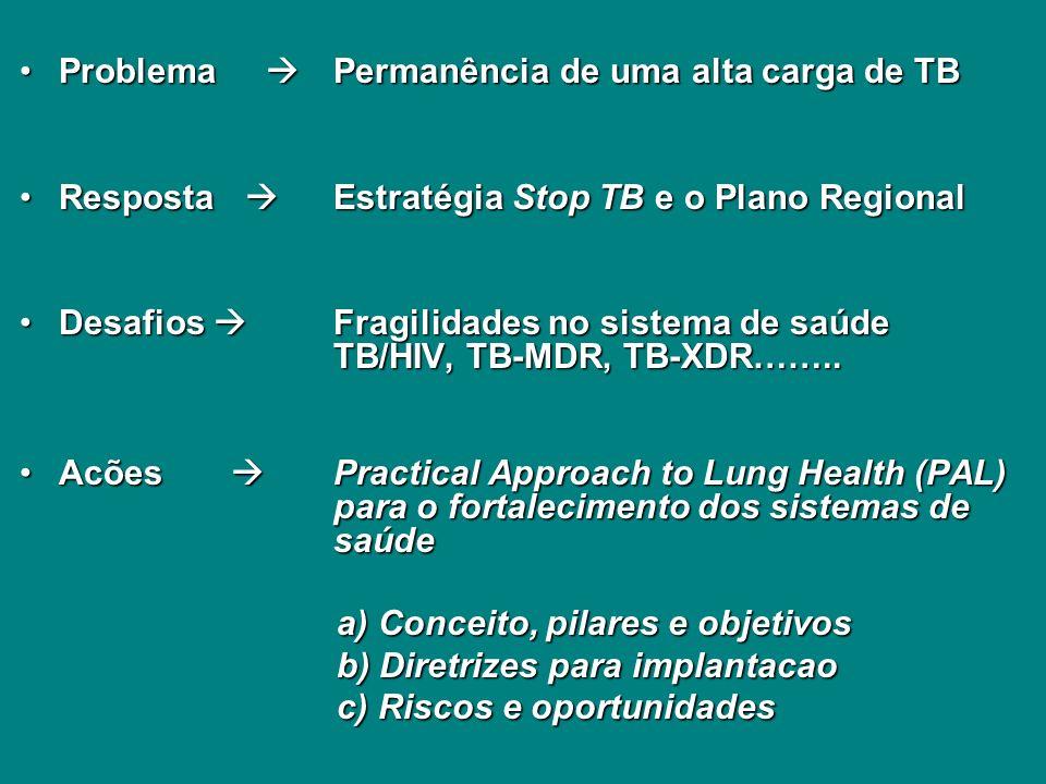 Problema Permanência de uma alta carga de TBProblema Permanência de uma alta carga de TB Resposta Estratégia Stop TB e o Plano RegionalResposta Estratégia Stop TB e o Plano Regional Desafios Fragilidades no sistema de saúde TB/HIV, TB-MDR, TB-XDR……..Desafios Fragilidades no sistema de saúde TB/HIV, TB-MDR, TB-XDR……..