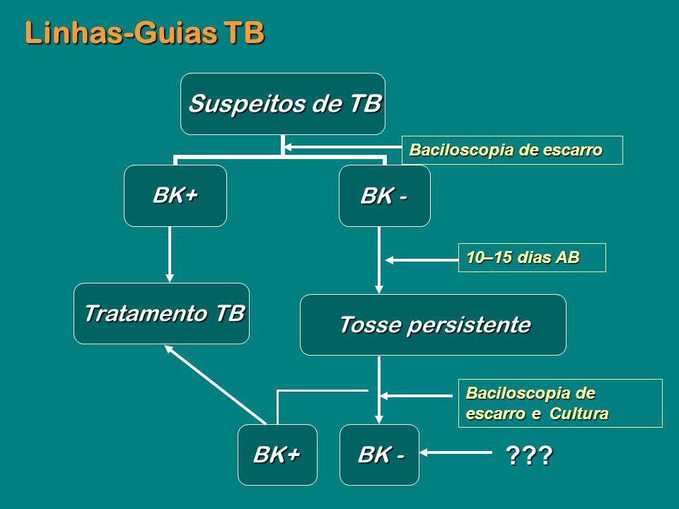 Suspeitos de TB BK+ BK - Tratamento TB Tratamento TB Tosse persistente BK+ Linhas-Guias TB Baciloscopia de escarro Baciloscopia de escarro e Cultura B