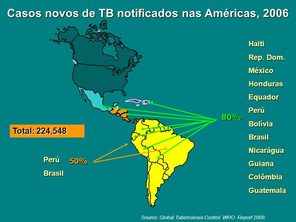 Casos novos de TB notificados nas Américas, 2006 Casos novos de TB notificados nas Américas, 2006 80% Haiti Rep. Dom. MéxicoHondurasEquadorPerúBolívia