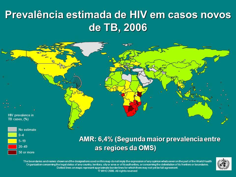 Prevalência estimada de HIV em casos novos de TB, 2006 No estimate 0–4 20–49 50 or more 5–19 HIV prevalence in TB cases, (%) The boundaries and names