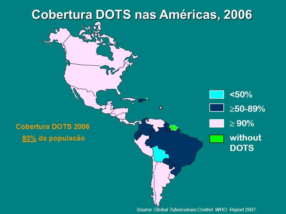 Cobertura DOTS nas Américas, 2006 <50% 50-89% 90% without DOTS Cobertura DOTS 2006 93% da populacão Source: Global Tuberculosis Control. WHO Report 20