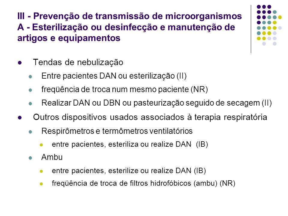 III - Prevenção de transmissão de microorganismos A - Esterilização ou desinfecção e manutenção de artigos e equipamentos Tendas de nebulização Entre