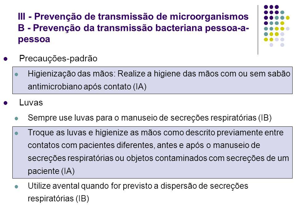 Precauções-padrão Higienização das mãos: Realize a higiene das mãos com ou sem sabão antimicrobiano após contato (IA) Luvas Sempre use luvas para o ma
