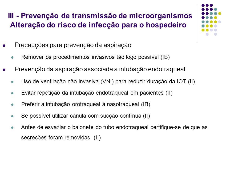 III - Prevenção de transmissão de microorganismos Alteração do risco de infecção para o hospedeiro Precauções para prevenção da aspiração Remover os p