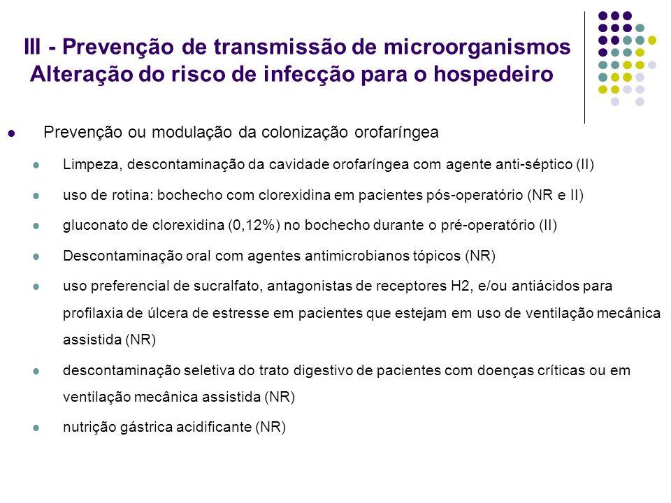 III - Prevenção de transmissão de microorganismos Alteração do risco de infecção para o hospedeiro Prevenção ou modulação da colonização orofaríngea L