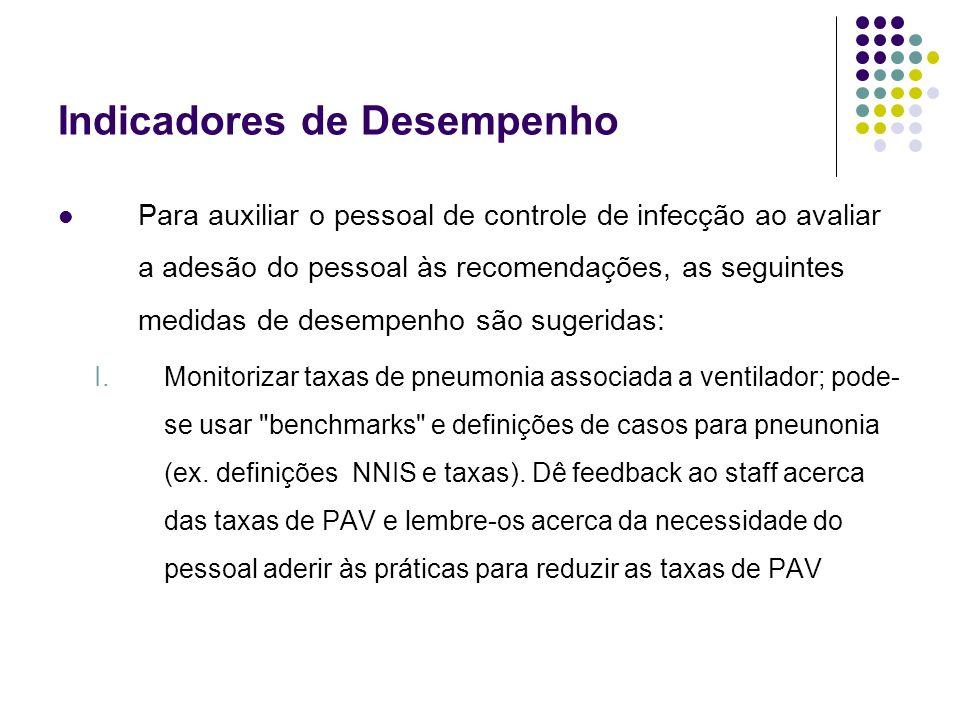 Indicadores de Desempenho Para auxiliar o pessoal de controle de infecção ao avaliar a adesão do pessoal às recomendações, as seguintes medidas de des