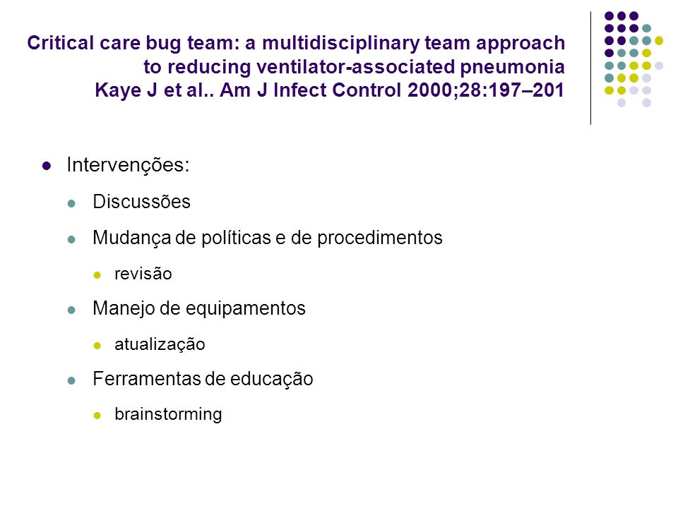 Critical care bug team: a multidisciplinary team approach to reducing ventilator-associated pneumonia Kaye J et al.. Am J Infect Control 2000;28:197–2