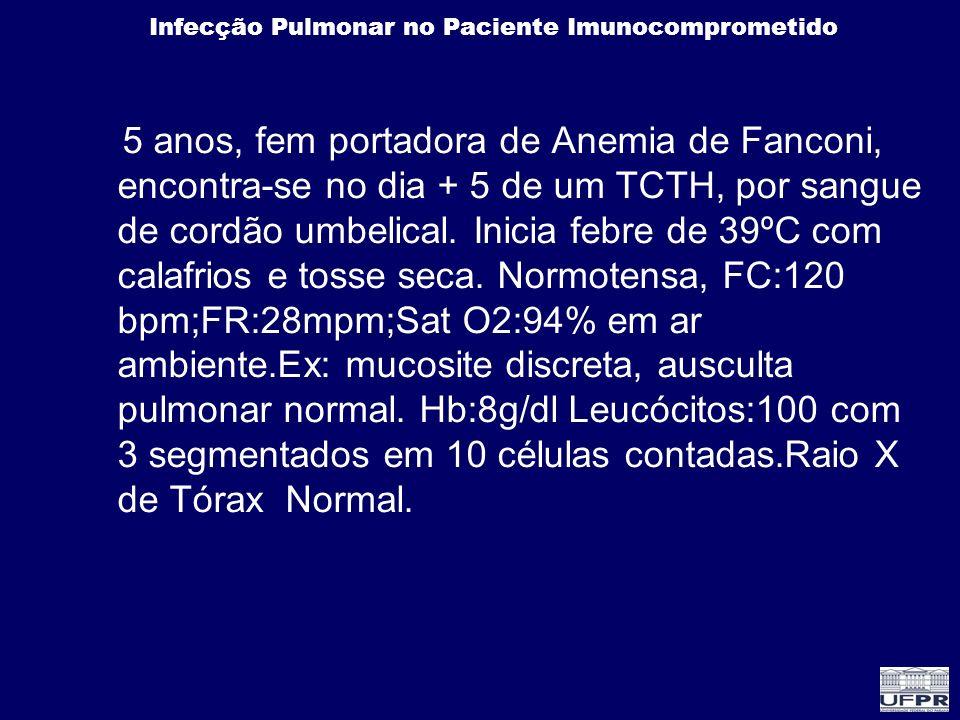 Infecção Pulmonar no Paciente Imunocomprometido 5 anos, fem portadora de Anemia de Fanconi, encontra-se no dia + 5 de um TCTH, por sangue de cordão um