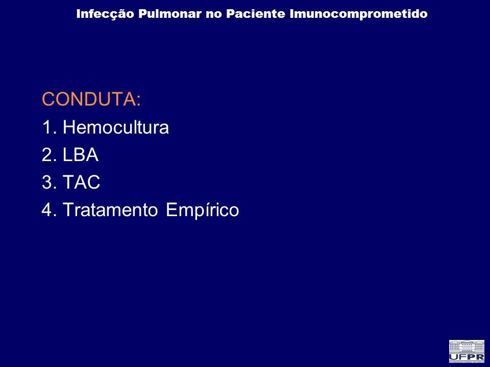 Infecção Pulmonar no Paciente Imunocomprometido CONDUTA: 1. Hemocultura 2. LBA 3. TAC 4. Tratamento Empírico