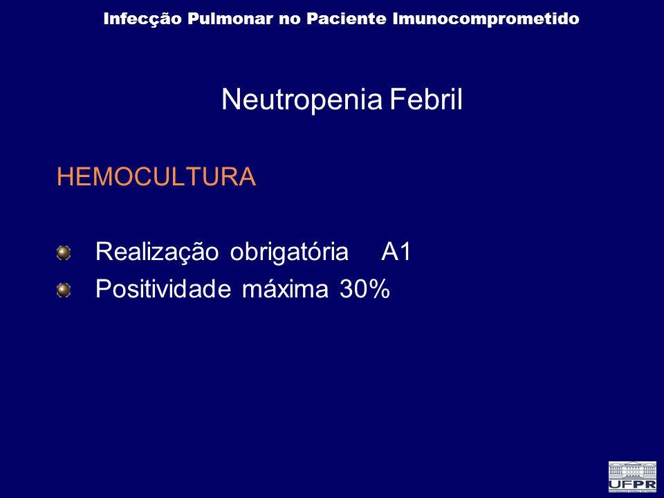 Infecção Pulmonar no Paciente Imunocomprometido Neutropenia Febril HEMOCULTURA Realização obrigatória A1 Positividade máxima 30%