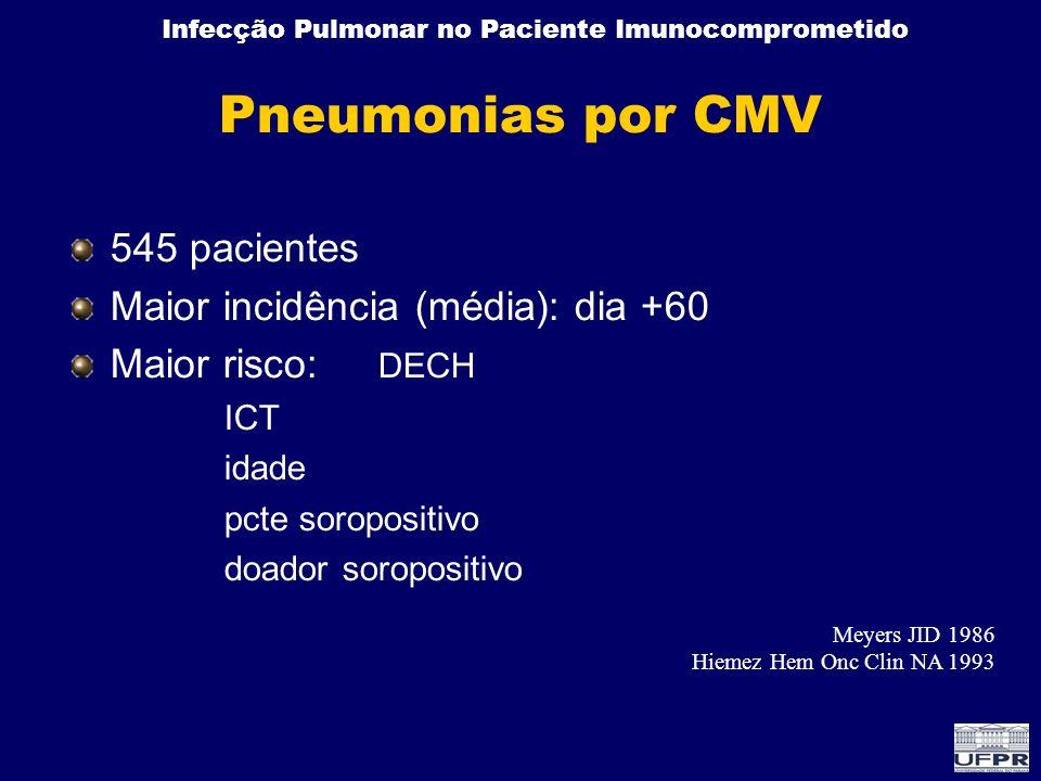 Infecção Pulmonar no Paciente Imunocomprometido Pneumonias por CMV 545 pacientes Maior incidência (média): dia +60 Maior risco: DECH ICT idade pcte so