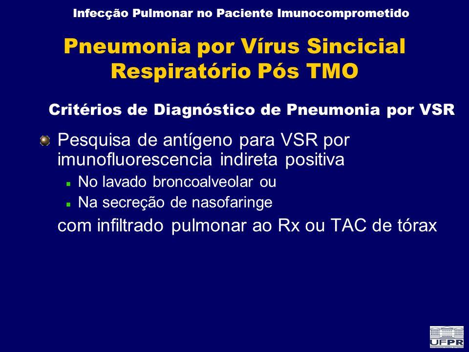 Infecção Pulmonar no Paciente Imunocomprometido Pneumonia por Vírus Sincicial Respiratório Pós TMO Pesquisa de antígeno para VSR por imunofluorescenci