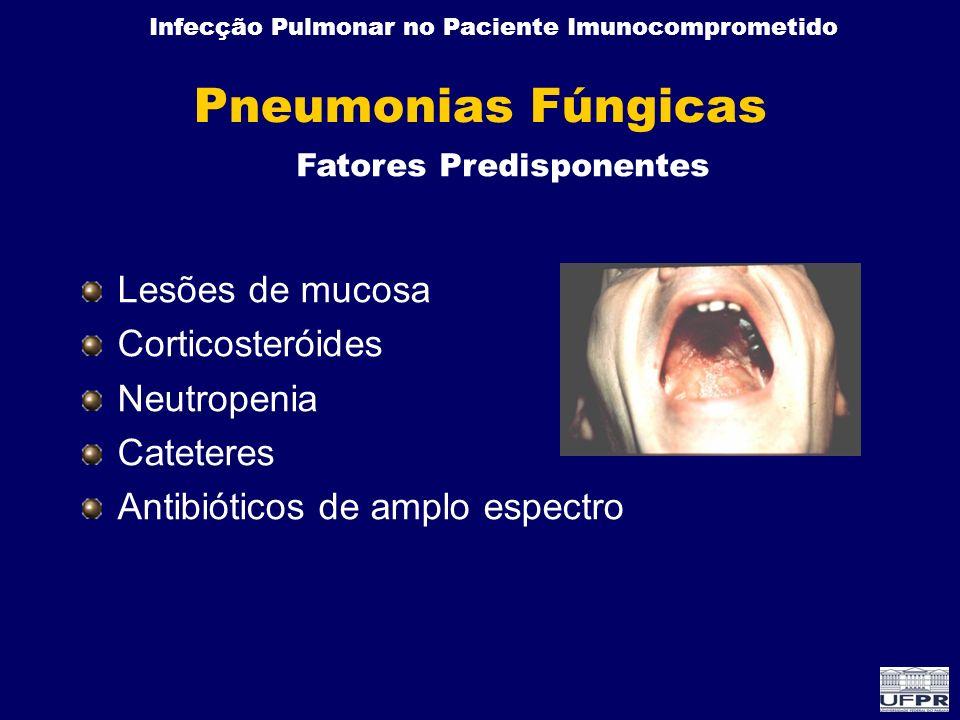 Infecção Pulmonar no Paciente Imunocomprometido Pneumonias Fúngicas Lesões de mucosa Corticosteróides Neutropenia Cateteres Antibióticos de amplo espe