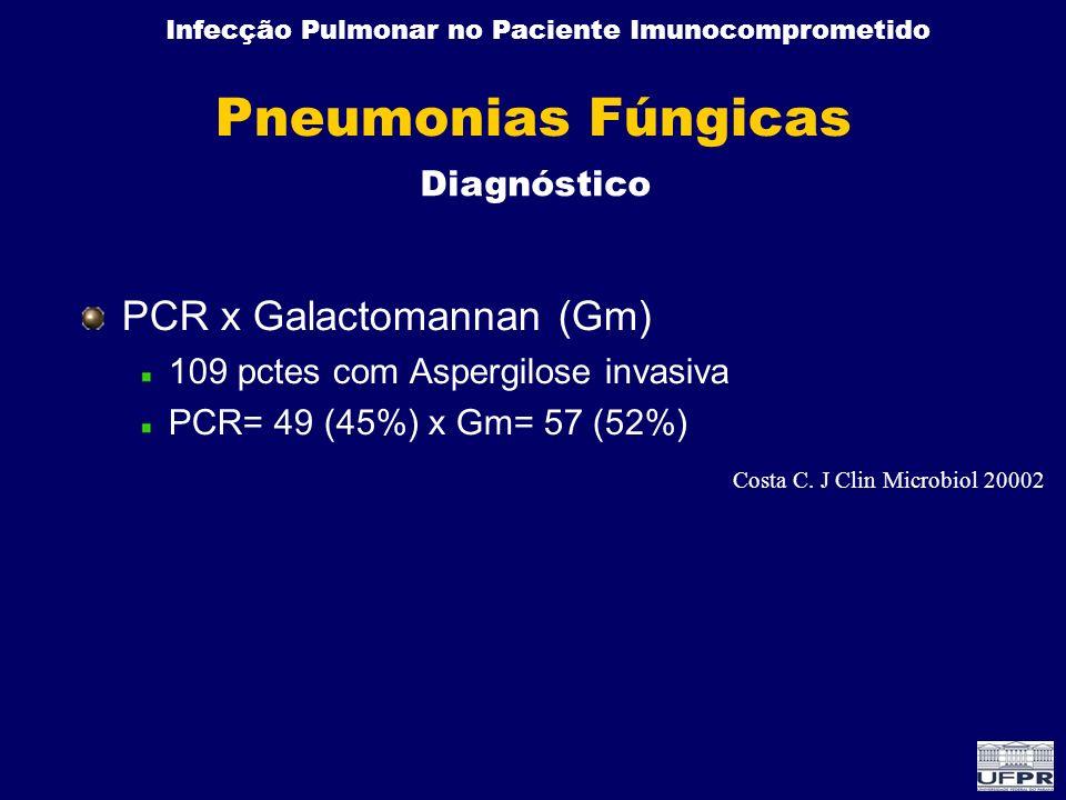 Infecção Pulmonar no Paciente Imunocomprometido Pneumonias Fúngicas PCR x Galactomannan (Gm) 109 pctes com Aspergilose invasiva PCR= 49 (45%) x Gm= 57