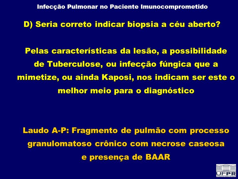 Infecção Pulmonar no Paciente Imunocomprometido PCR real time em CMV Early detection of plasma Cytomegalovirus DNA realtime PCR after allogeneic hematopoietic stem cell transplantation Onisshi et al Tohoku J Exp Med oct-2006 64 pctes 357 amostras PCR(rt) X Antigenemia (p<0,0001) PCR precedeu a POS da antigenemia em 14 dias Dos 64 pacientes 10 desenvolveram doença Antigenemia positivou precocemente em 4/10 PCR positivou precocemente em 8/10