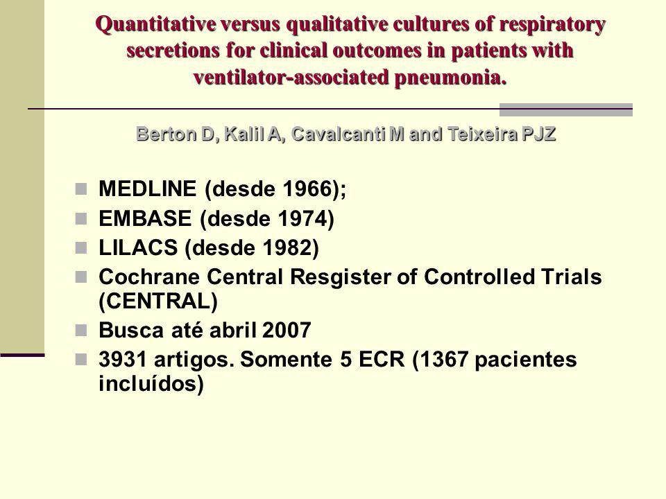 Quantitative versus qualitative cultures of respiratory secretions for clinical outcomes in patients with ventilator-associated pneumonia. MEDLINE (de
