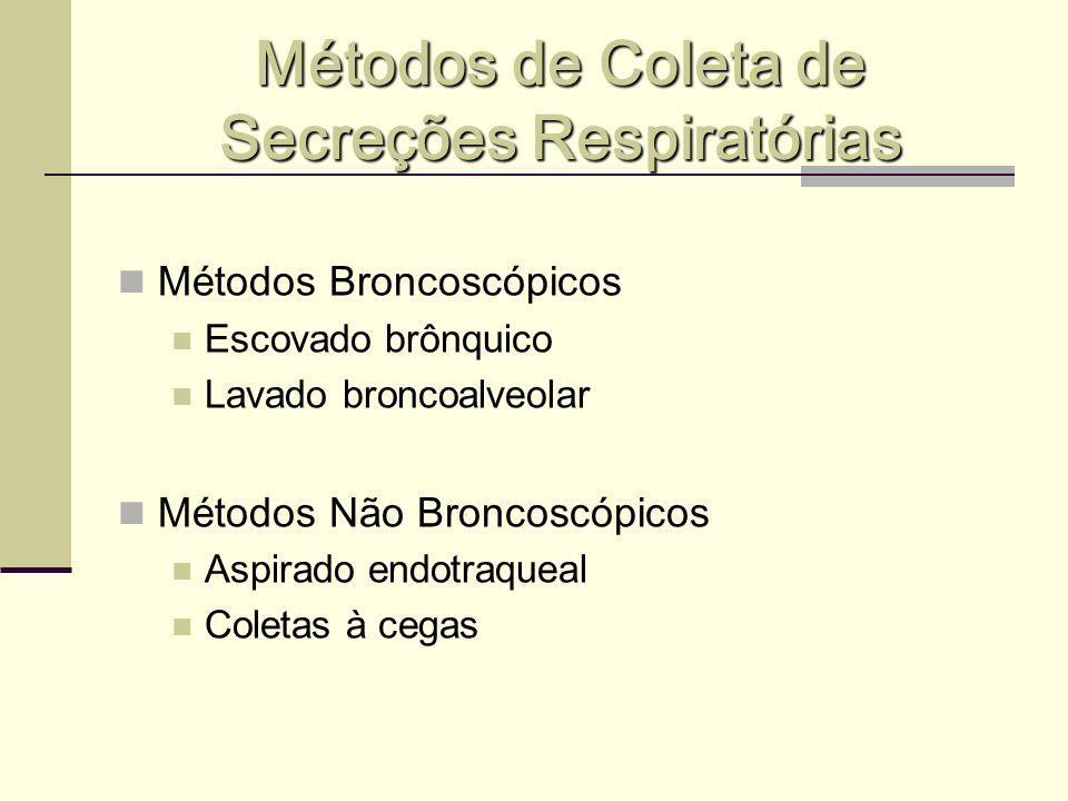 Métodos de Coleta de Secreções Respiratórias Métodos Broncoscópicos Escovado brônquico Lavado broncoalveolar Métodos Não Broncoscópicos Aspirado endot