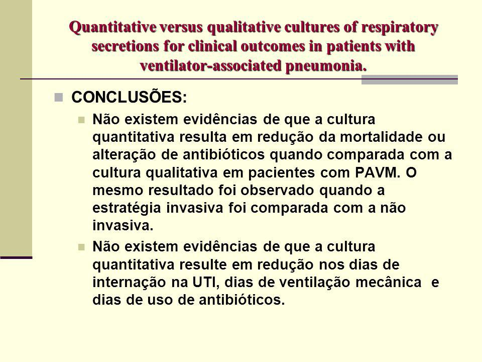Quantitative versus qualitative cultures of respiratory secretions for clinical outcomes in patients with ventilator-associated pneumonia. CONCLUSÕES: