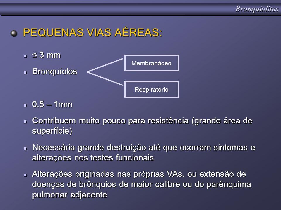 PEQUENAS VIAS AÉREAS: PEQUENAS VIAS AÉREAS: 3 mm 3 mm Bronquíolos Bronquíolos 0.5 – 1mm 0.5 – 1mm Contribuem muito pouco para resistência (grande área