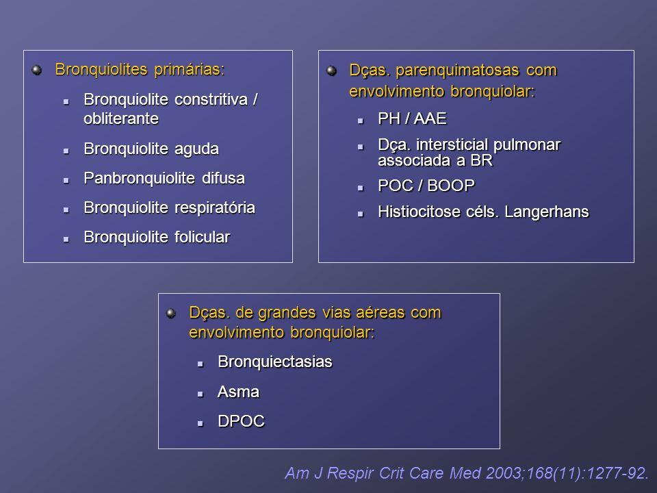 Am J Respir Crit Care Med 2003;168(11):1277-92. Dças. parenquimatosas com envolvimento bronquiolar: PH / AAE Dça. intersticial pulmonar associada a BR