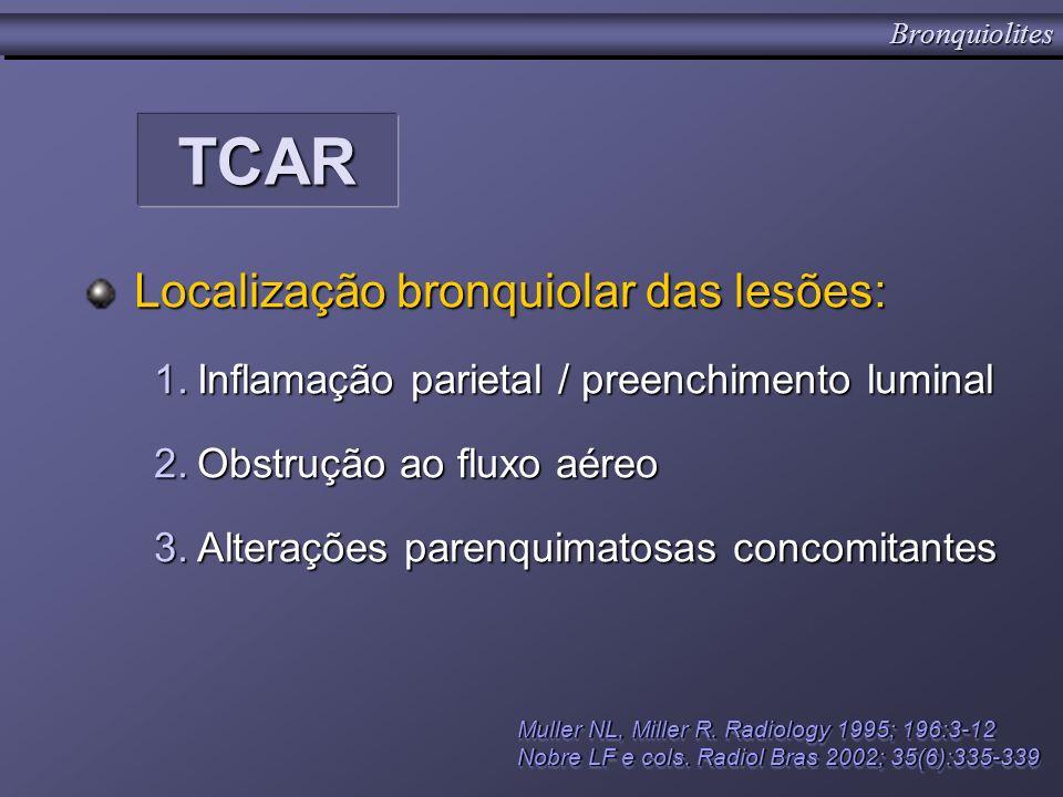 TCARTCAR Localização bronquiolar das lesões: 1.Inflamação parietal / preenchimento luminal 2.Obstrução ao fluxo aéreo 3.Alterações parenquimatosas con