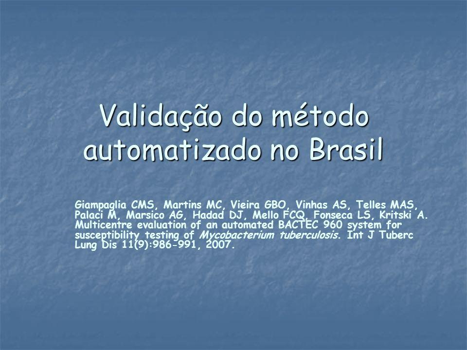 Validação do método automatizado no Brasil Giampaglia CMS, Martins MC, Vieira GBO, Vinhas AS, Telles MAS, Palaci M, Marsico AG, Hadad DJ, Mello FCQ, F