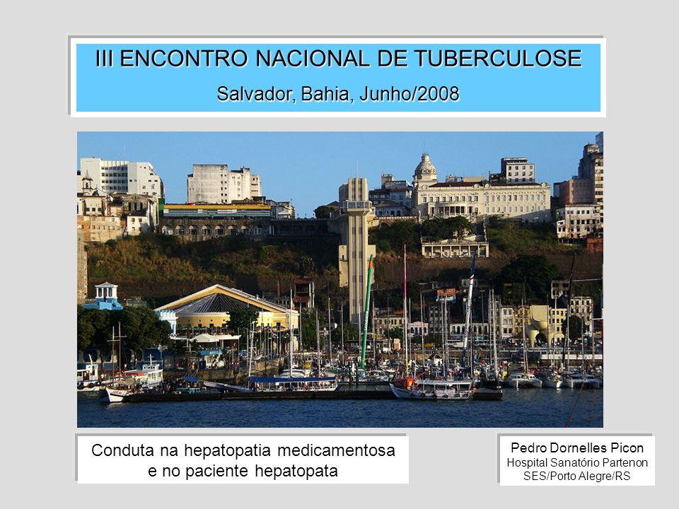 III ENCONTRO NACIONAL DE TUBERCULOSE Salvador, Bahia, Junho/2008 Pedro Dornelles Picon Hospital Sanatório Partenon SES/Porto Alegre/RS Conduta na hepa