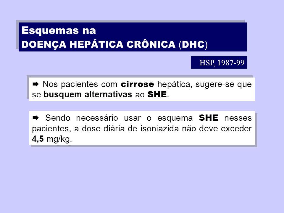 Nos pacientes com cirrose hepática, sugere-se que se busquem alternativas ao SHE. Sendo necessário usar o esquema SHE nesses pacientes, a dose diária