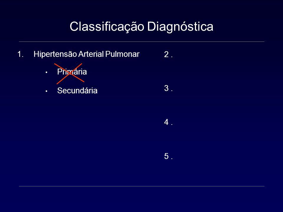 Classificação Diagnóstica 1.Hipertensão Arterial Pulmonar HAP familiar HAP idiopática Associada a: Doenças do colágeno Infecção por HIV Hipertensão porta Drogas e toxinas Cardiopatia congênita Persistência de HP no Neonato 3º Simpósio Mundial em HAP - Veneza 2003 OMS