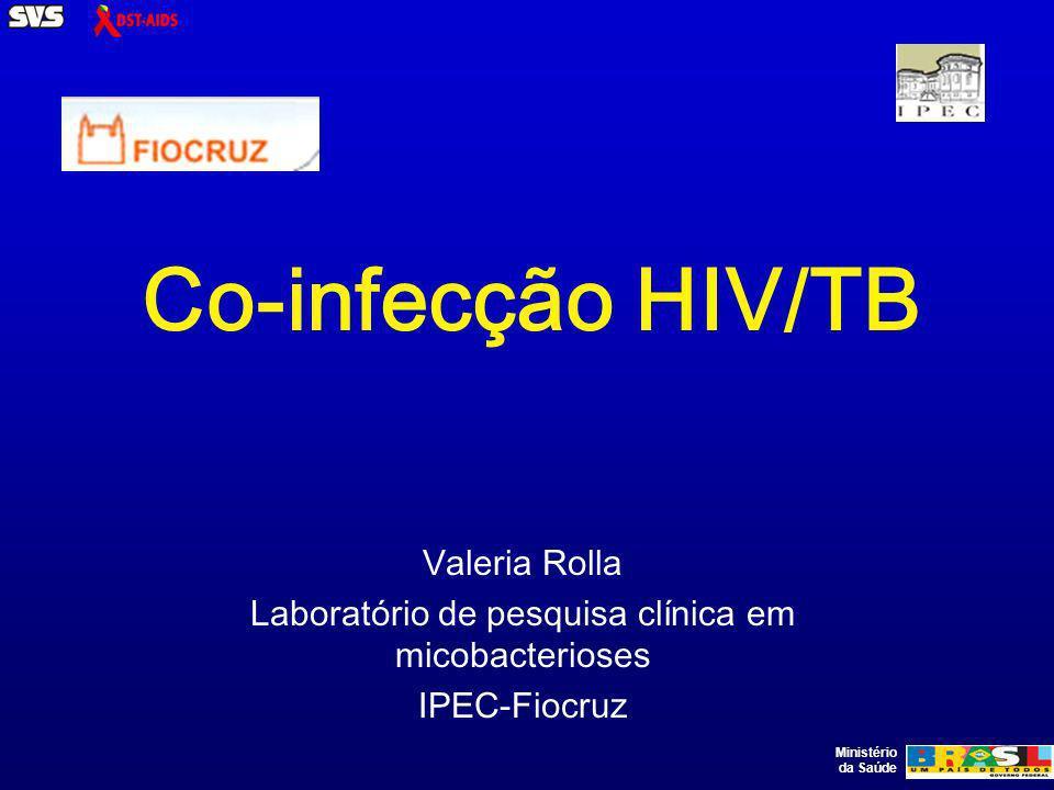 Ministério da Saúde QUADRO I: RECOMENDAÇÕES TERAPÊUTICAS PARA PACIENTES HIV+ COM TUBERCULOSE SITUAÇÃORECOMENDAÇÃO Paciente virgem de tratamento para tuberculose e para HIV, com TB cavitária Tratar TB por seis meses com RHZ (1) recomendado pelo Ministério da Saúde.