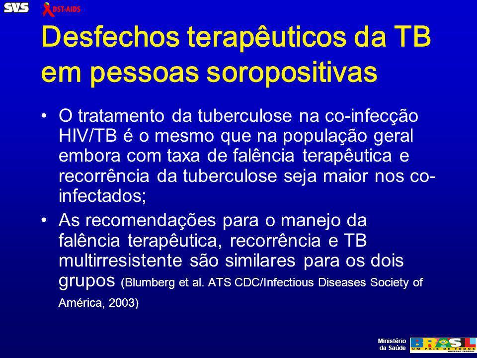 Ministério da Saúde Desfechos terapêuticos da TB em pessoas soropositivas O tratamento da tuberculose na co-infecção HIV/TB é o mesmo que na população geral embora com taxa de falência terapêutica e recorrência da tuberculose seja maior nos co- infectados; As recomendações para o manejo da falência terapêutica, recorrência e TB multirresistente são similares para os dois grupos (Blumberg et al.