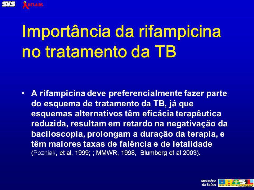 Ministério da Saúde Importância da rifampicina no tratamento da TB A rifampicina deve preferencialmente fazer parte do esquema de tratamento da TB, já que esquemas alternativos têm eficácia terapêutica reduzida, resultam em retardo na negativação da baciloscopia, prolongam a duração da terapia, e têm maiores taxas de falência e de letalidade (Pozniak, et al, 1999; ; MMWR, 1998, Blumberg et al 2003).Pozniak