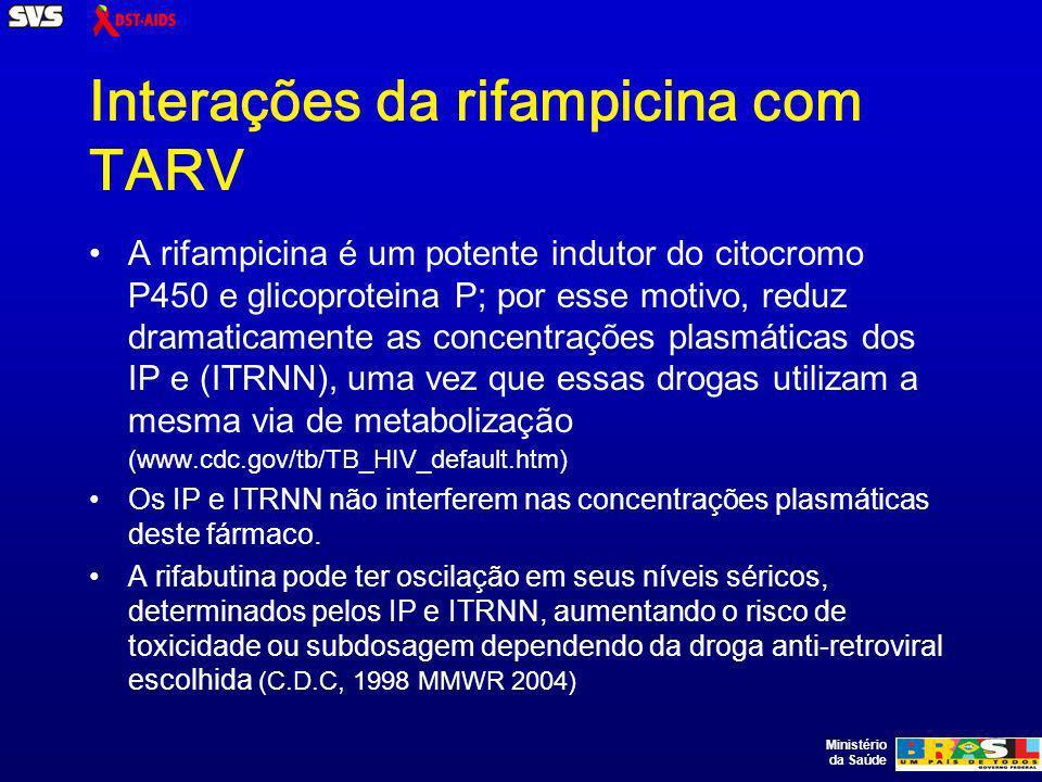 Ministério da Saúde Interações da rifampicina com TARV A rifampicina é um potente indutor do citocromo P450 e glicoproteina P; por esse motivo, reduz dramaticamente as concentrações plasmáticas dos IP e (ITRNN), uma vez que essas drogas utilizam a mesma via de metabolização (www.cdc.gov/tb/TB_HIV_default.htm) Os IP e ITRNN não interferem nas concentrações plasmáticas deste fármaco.