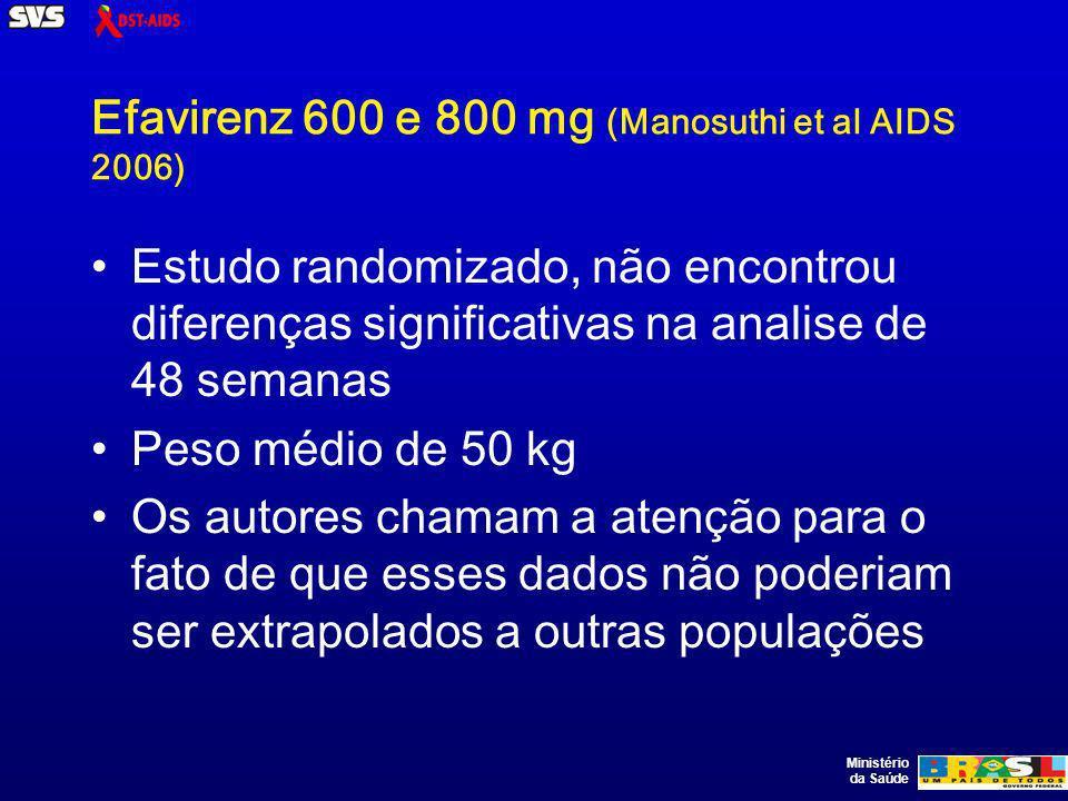 Ministério da Saúde Efavirenz 600 e 800 mg (Manosuthi et al AIDS 2006) Estudo randomizado, não encontrou diferenças significativas na analise de 48 semanas Peso médio de 50 kg Os autores chamam a atenção para o fato de que esses dados não poderiam ser extrapolados a outras populações