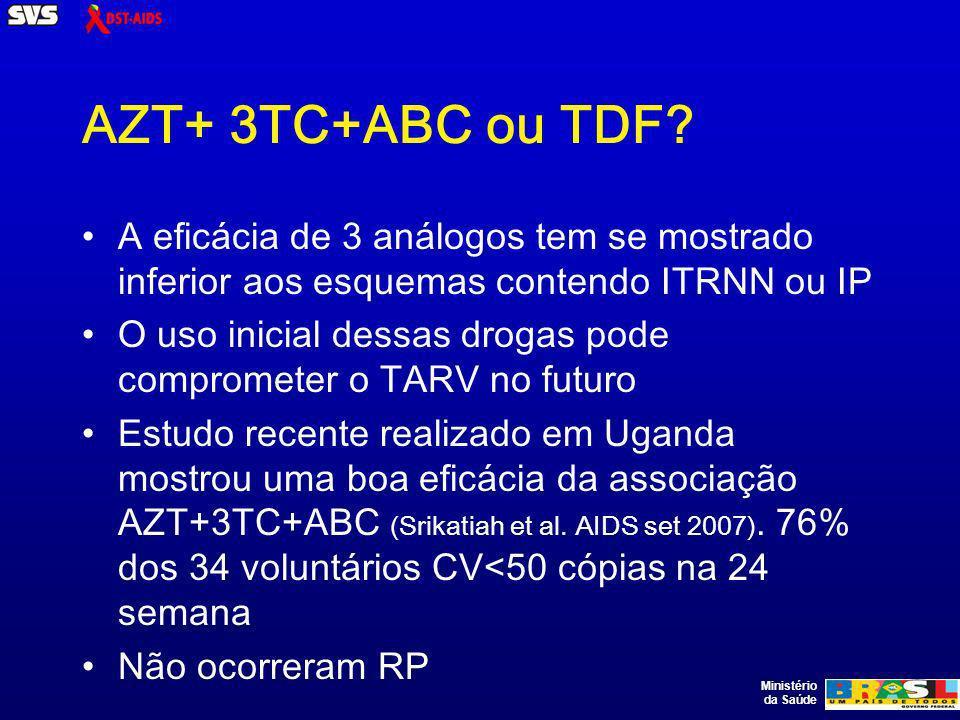 Ministério da Saúde AZT+ 3TC+ABC ou TDF.