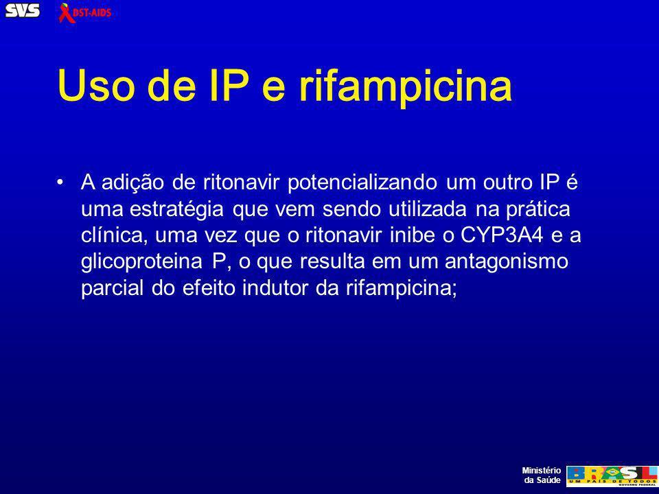 Ministério da Saúde Uso de IP e rifampicina A adição de ritonavir potencializando um outro IP é uma estratégia que vem sendo utilizada na prática clínica, uma vez que o ritonavir inibe o CYP3A4 e a glicoproteina P, o que resulta em um antagonismo parcial do efeito indutor da rifampicina;