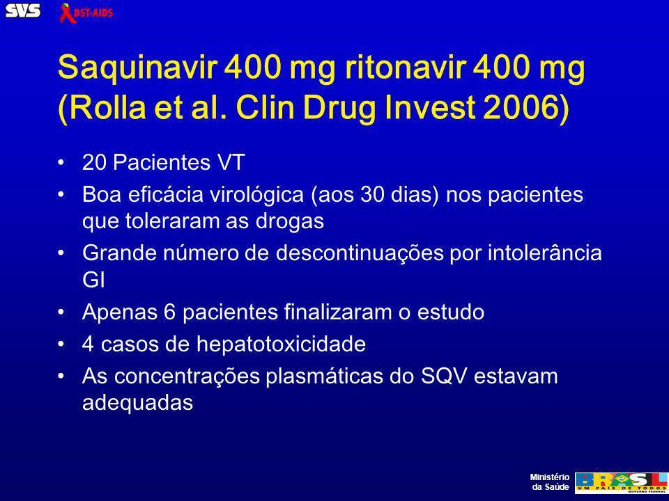 Ministério da Saúde Saquinavir 400 mg ritonavir 400 mg (Rolla et al. Clin Drug Invest 2006) 20 Pacientes VT Boa eficácia virológica (aos 30 dias) nos