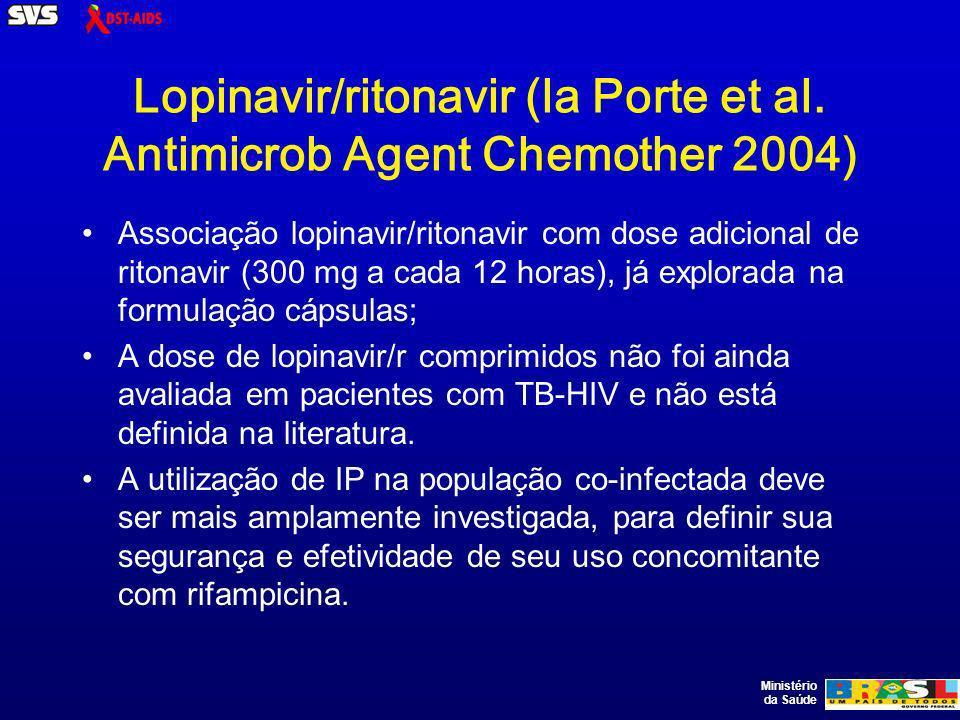 Ministério da Saúde Lopinavir/ritonavir (la Porte et al. Antimicrob Agent Chemother 2004) Associação lopinavir/ritonavir com dose adicional de ritonav