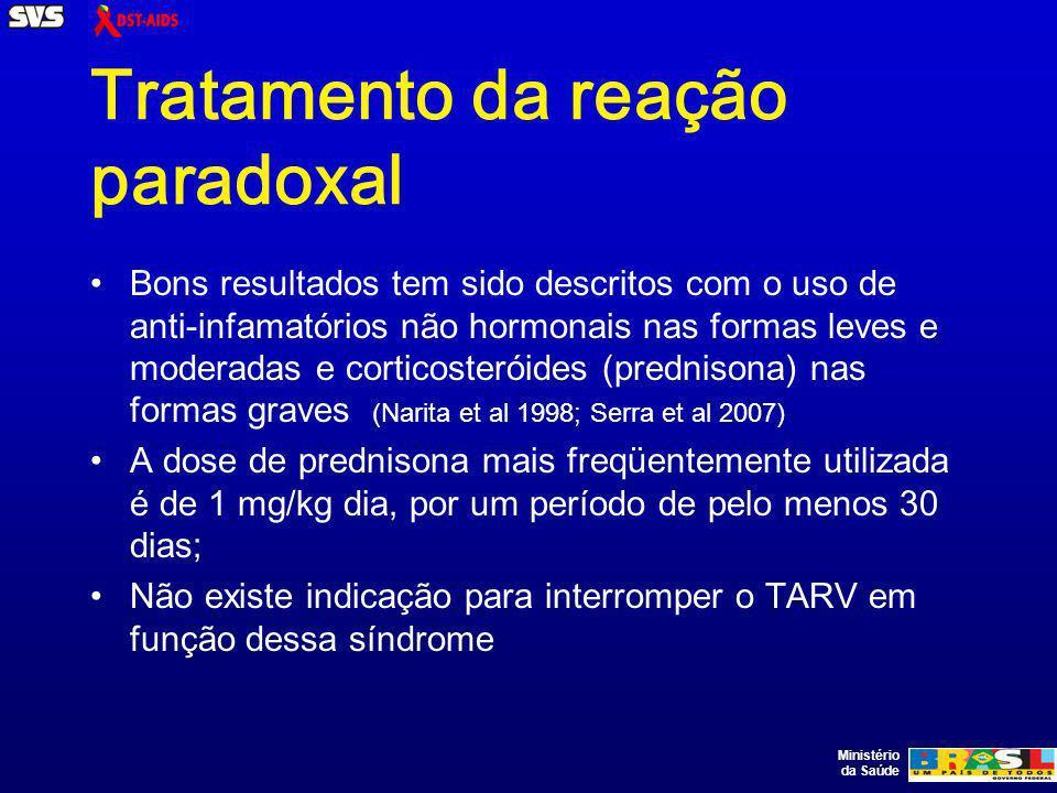 Tratamento da reação paradoxal Bons resultados tem sido descritos com o uso de anti-infamatórios não hormonais nas formas leves e moderadas e corticosteróides (prednisona) nas formas graves (Narita et al 1998; Serra et al 2007) A dose de prednisona mais freqüentemente utilizada é de 1 mg/kg dia, por um período de pelo menos 30 dias; Não existe indicação para interromper o TARV em função dessa síndrome