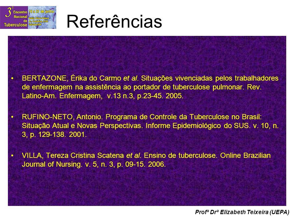Profª Drª Elizabeth Teixeira (UEPA) Referências BERTAZONE, Érika do Carmo et al. Situações vivenciadas pelos trabalhadores de enfermagem na assistênci