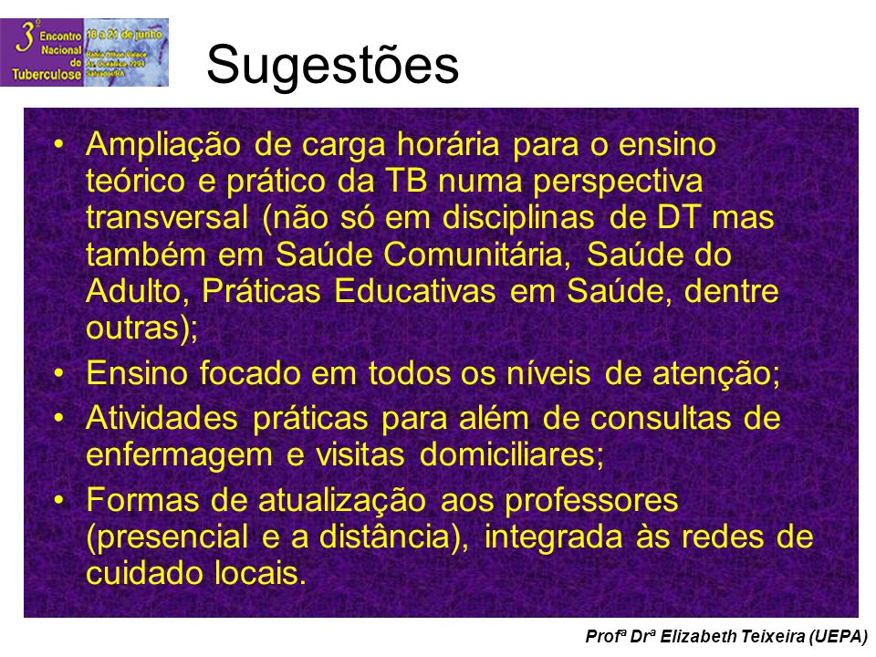 Profª Drª Elizabeth Teixeira (UEPA) Sugestões Ampliação de carga horária para o ensino teórico e prático da TB numa perspectiva transversal (não só em