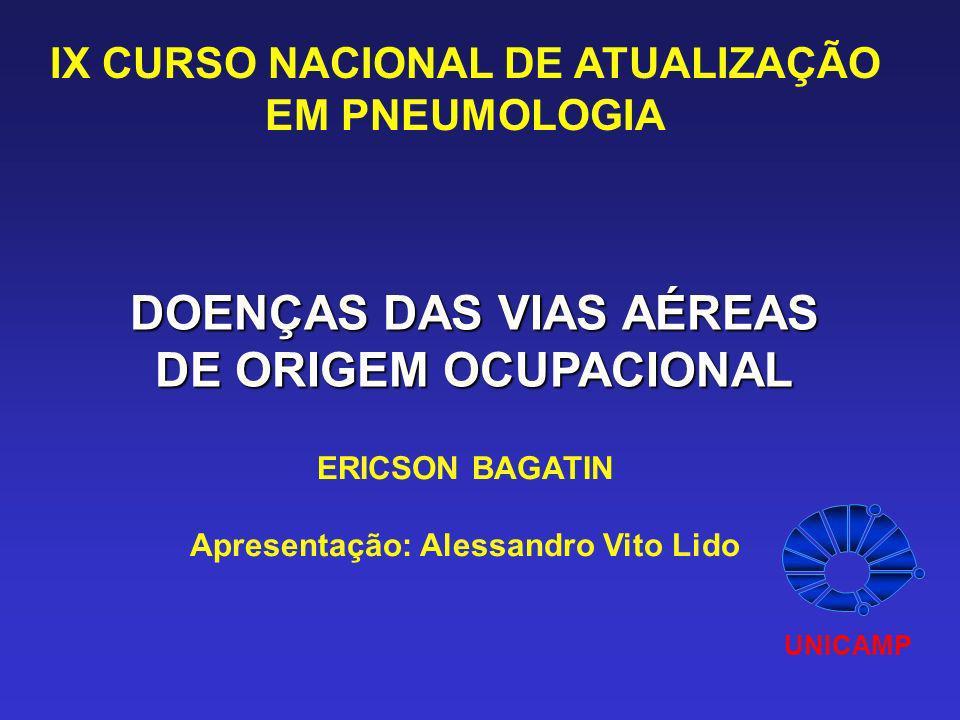 DOENÇAS DAS VIAS AÉREAS DE ORIGEM OCUPACIONAL ERICSON BAGATIN Apresentação: Alessandro Vito Lido IX CURSO NACIONAL DE ATUALIZAÇÃO EM PNEUMOLOGIA UNICA