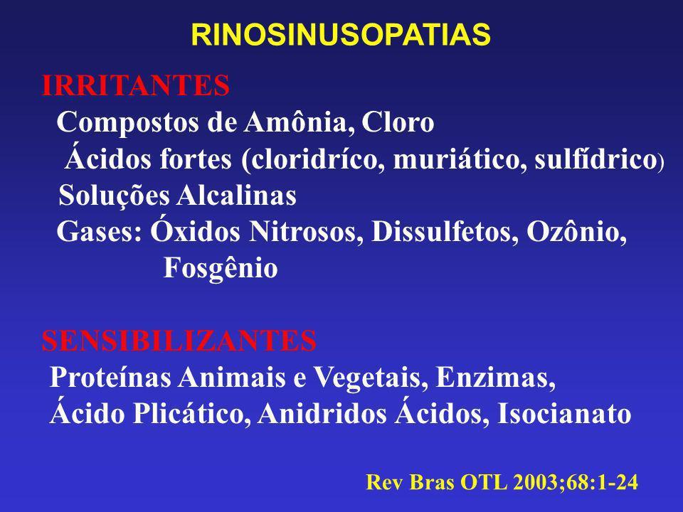 RINOSINUSOPATIAS IRRITANTES Compostos de Amônia, Cloro Ácidos fortes (cloridríco, muriático, sulfídrico ) Soluções Alcalinas Gases: Óxidos Nitrosos, D